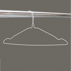 White notched wire hangers
